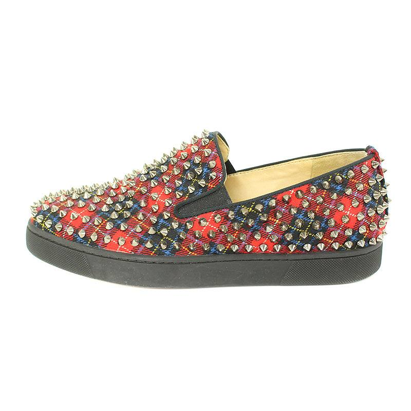 buy popular cbcb2 146d3 クリスチャンルブタン /Christian Louboutin checked pattern studs decoration slip-ons  sneakers (41/ red X black X silver) bb131#rinkan*B