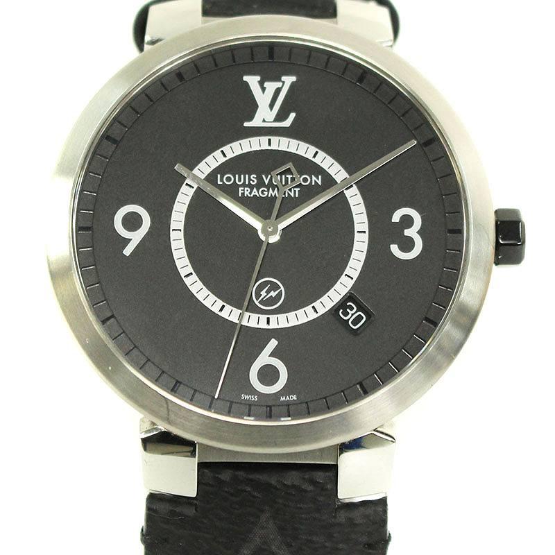 ルイヴィトン/LOUISVUITTON ×フラグメントデザイン 【Q1DM1/タンブール】モノグラムエクリプス腕時計(ブラック×シルバー)【SB01】【小物】【706091】【中古】bb223#rinkan*B