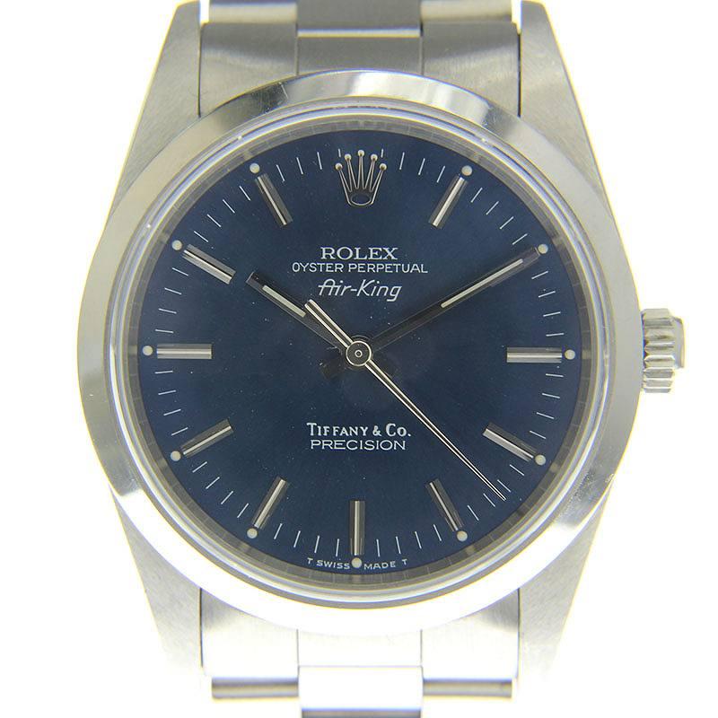 new style ee74c 2c94d ロレックス/ROLEX ×ティファニー/TIFFANY&Co.  【Ref:14000エアキング】X番腕時計(シルバー)【SJ02】【小物】【626091】【中古】bb82#rinkan*B|RINKAN