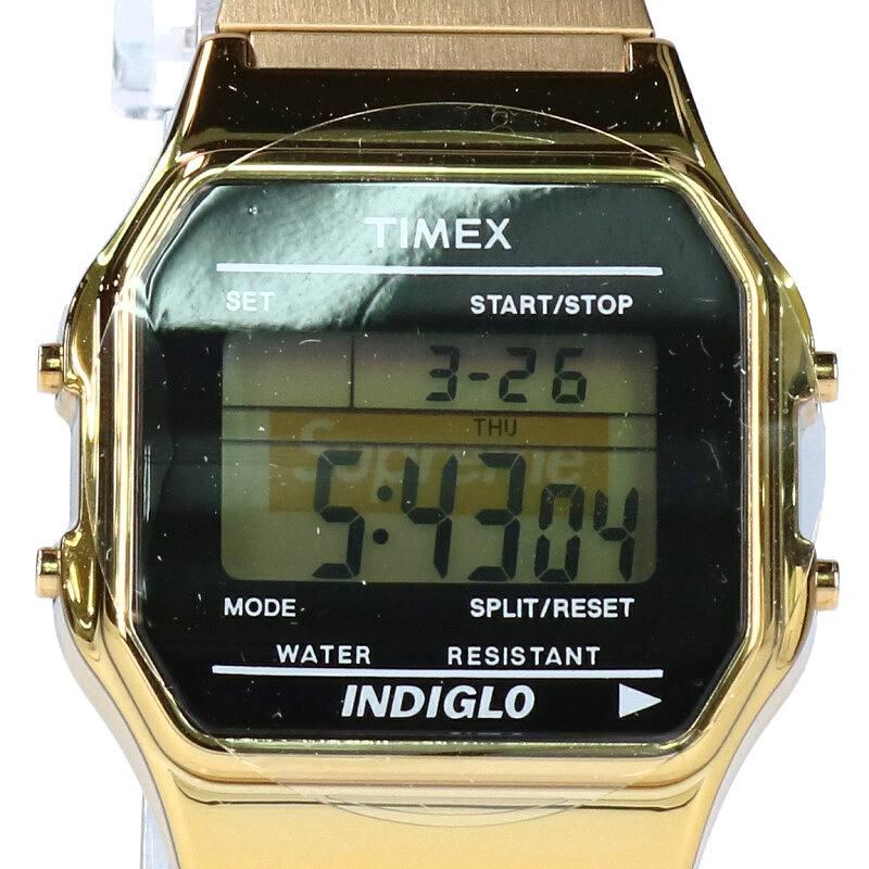 シュプリーム/SUPREME ×タイメックス/TIMEX 【19AW】【Supreme/Timex Digital Watch】ボックスロゴデジタル腕時計(ゴールド)【OM10】【小物】【609091】【中古】bb170#rinkan*S