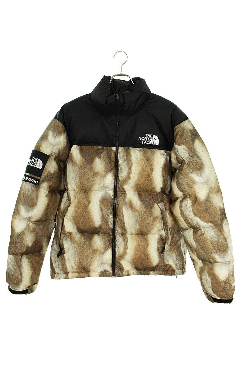 シュプリーム/SUPREME ×ノースフェイス/THE NORTH FACE 【13AW】【Fur Print Nuptse Jacket】ファープリントヌプシダウンジャケット(L/ブラウン調)【OM10】【メンズ】【810191】【中古】bb205#rinkan*B