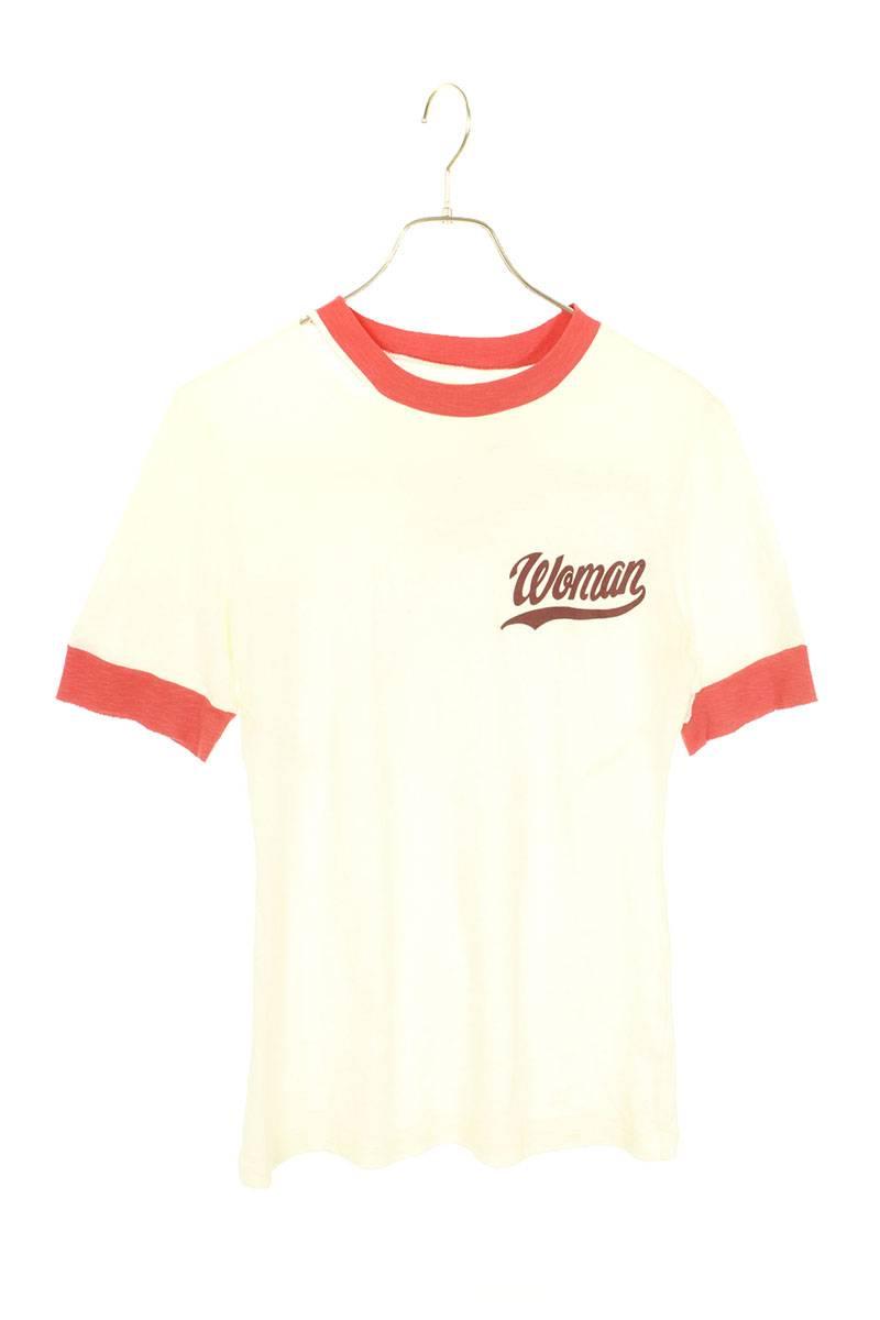 オフホワイト/OFF-WHITE 【17SS】【Thanks But No Thanks T-Shirt】ダメージ加工バックプリントトリムTシャツ(ホワイト×レッド)【FK04】【レディース】【024002】【中古】bb82#rinkan*B