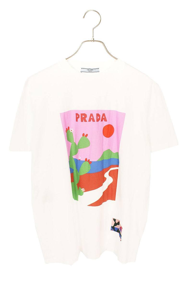 プラダ/PRADA イラストプリントTシャツ(XL/ホワイト)【SK03】【レディース】【311191】【中古】bb212#rinkan*A