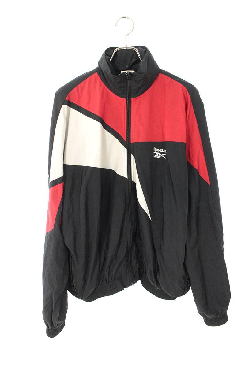 ヴェトモン/VETEMENTS 【17SS】【Hooded Zip Up Nylon Track Jacket WSS17RE4】フーデッドジップアップナイロントラックジャケット(M/ブラック×レッド×ホワイト)【SB01】【レディース】【721002】【中古】[less]bb63#rinkan*B