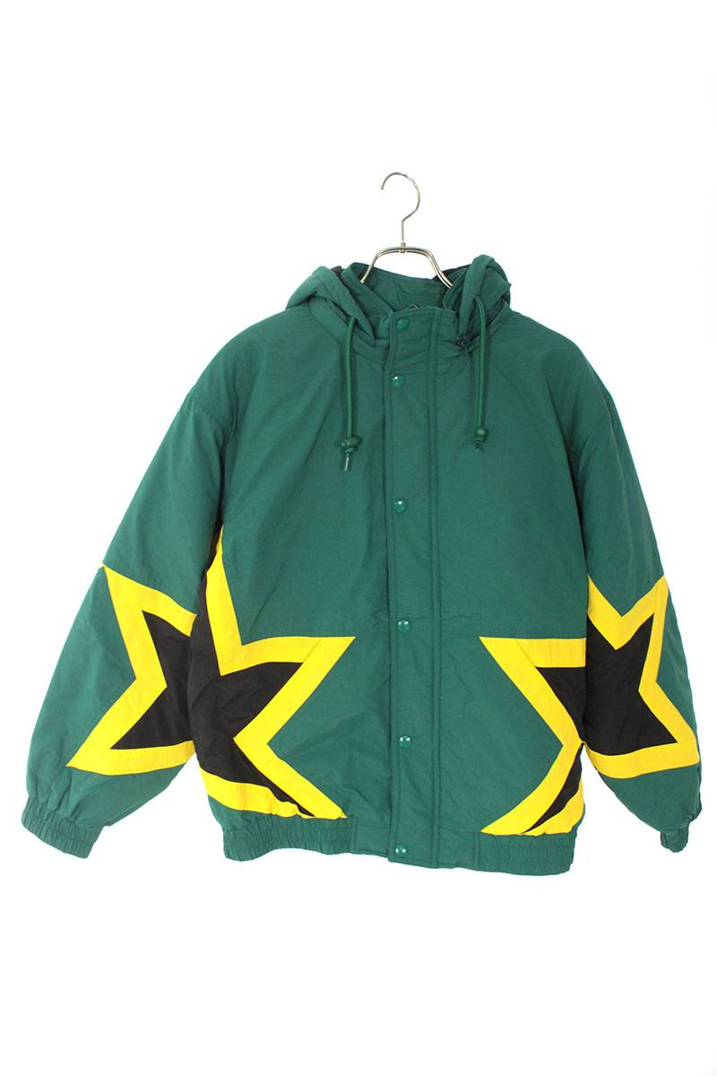 シュプリーム/SUPREME 【19SS】【Stars Puffy Jacket】バックスクリプトロゴジャケット(M/グリーン×イエロー×ブラック)【SB01】【メンズ】【821002】【中古】bb211#rinkan*B