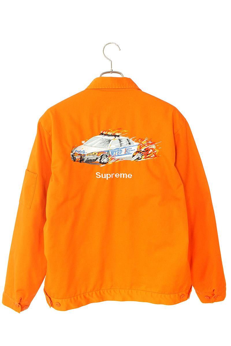 シュプリーム/SUPREME 【19AW】【Cop Car Embroidered Work Jacket】コップカーエンブロイダードワークジャケット(L/オレンジ)【SB01】【メンズ】【104002】【中古】bb10#rinkan*A