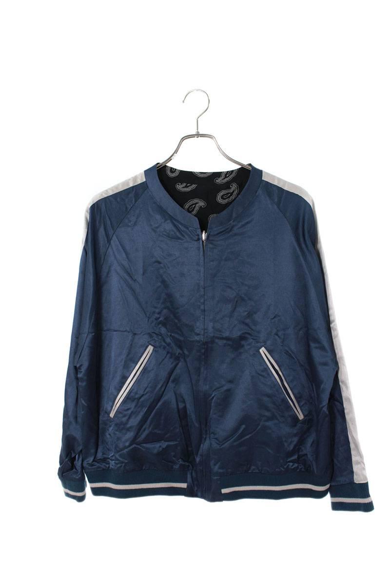 ネオンサイン/NEON SIGN 【16SS】【Collarless Psycho Souvenir Jacket】裏地ペイズリーノーカラーサテンブルゾン(0/ブルー)【BS99】【メンズ】【803002】【中古】bb187#rinkan*S
