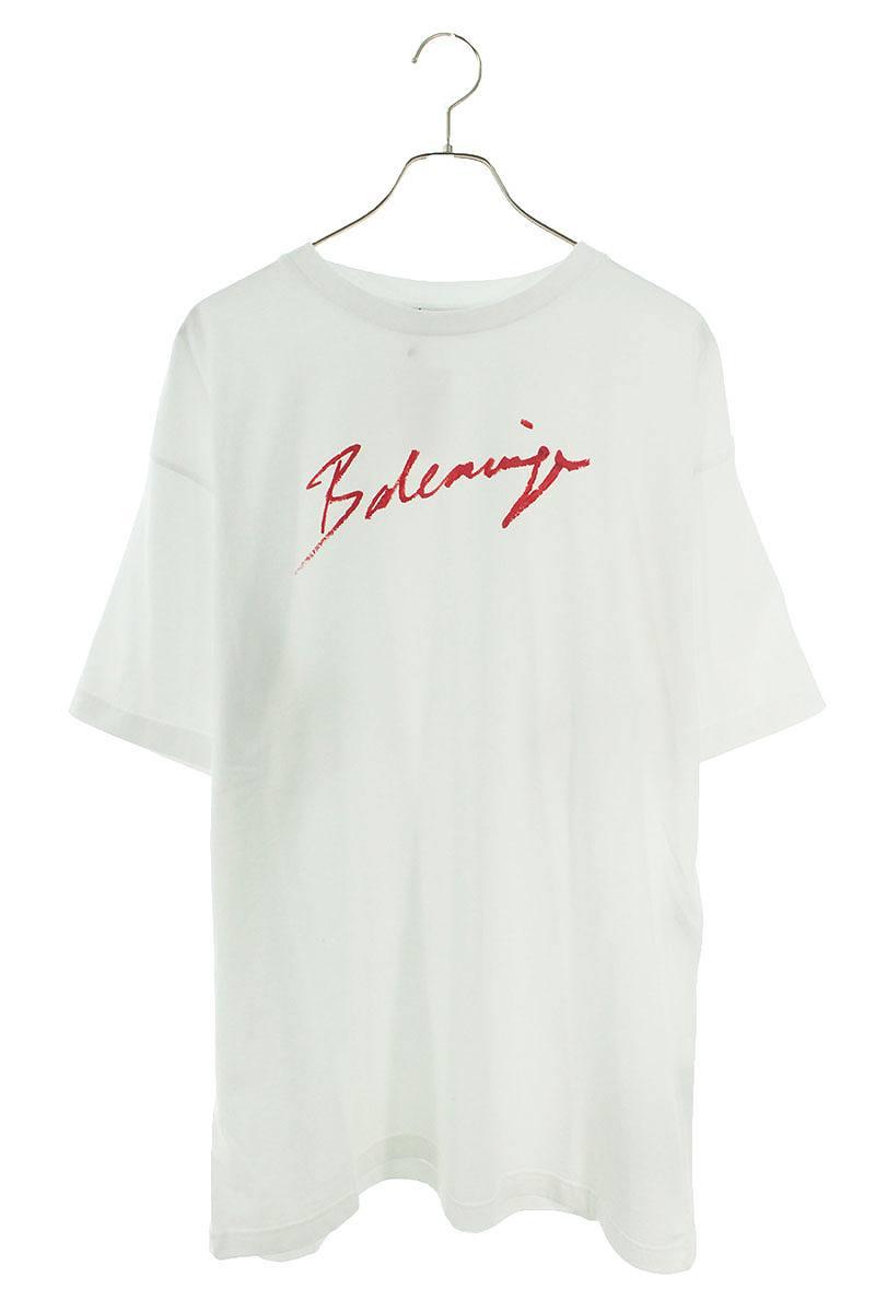 バレンシアガ/BALENCIAGA 【19AW】【583218 TFV63】ロゴプリントTシャツ(S/ホワイト)【OM10】【メンズ】【213002】【中古】【準新入荷】bb154#rinkan*S