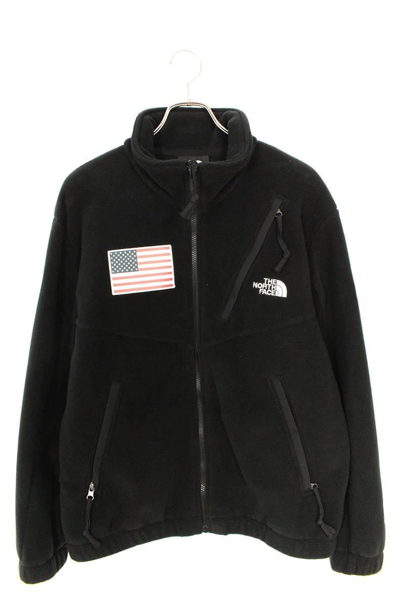 シュプリーム/SUPREME ×ノースフェイス/THE NORTH FACE 【17SS】【Trans Antarctica Expedition Fleece Jacket】アメリカンフラッグフリースジャケット(M/ブラック)【OM10】【メンズ】【304002】【中古】bb205#rinkan*S