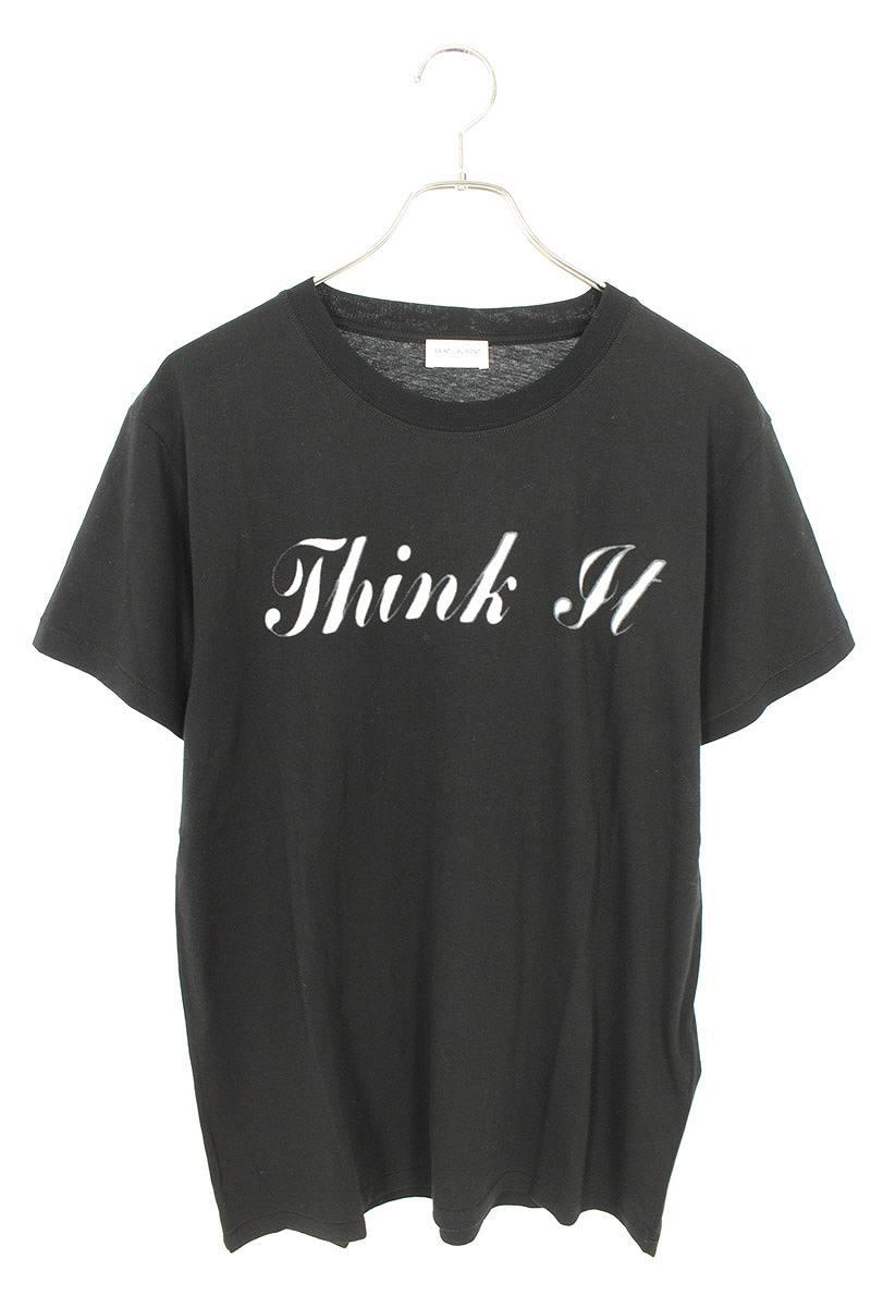 サンローランパリ/SAINT LAURENT PARIS 【16AW】【440746】Think It プリントTシャツ(M/ブラック)【SB01】【メンズ】【704002】【中古】bb15#rinkan*S