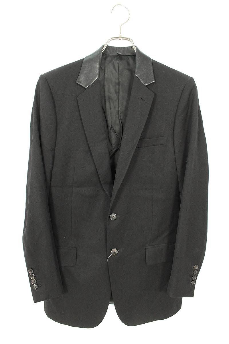 ディオールオム/Dior HOMME 【03AW】【3HH2022217】RUSTER期 レザーカラー切替2Bジャケット(46/ブラック)【BS99】【メンズ】【414002】【中古】bb15#rinkan*A