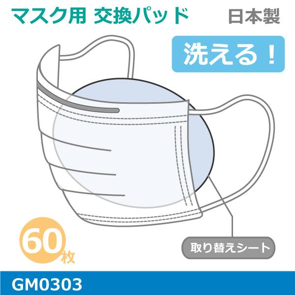洗える マスク取り替えパッド12パック(5枚入りx12)日本製 抗菌 防臭カラー:ベージュ肺炎かん菌、ぶどう球菌の増殖を抑えるメール便発送可能GM0303マスク フィルター交換 取り替えシートマスク熱中症対策