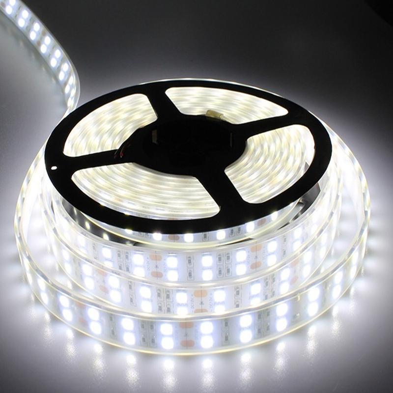 LEDテープライト 完全防水 DC24V SMD5050 防水加工 カバー付き 600連 情熱セール 売却 二列式 ホワイト 屋外照明 イルミネーション 5M 白色 船舶 蛍光灯led間接照明 LEDテープ トラック 照明
