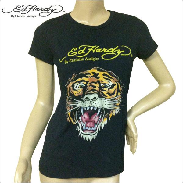 送料無料 オープンセール プレゼント付き Ed Hardy エドハーディー 通販 人気 レディース タイガー ブラック ベーシック Mサイズ Tシャツ ブランド