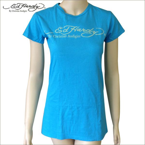 送料無料 オープンセール プレゼント付き Ed Hardy Womens Short Sleeve Mサイズ エドハーディー ロゴ 誕生日プレゼント Tシャツ レディース ブルー 全品送料無料 Tee ブランド
