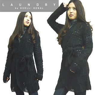 最新 送料無料 ランドリー バイ シェリー シーガル ロングカーデ ブラック Ⅿサイズ Segal Long Laundry knit by cardigan 評価 Shelli