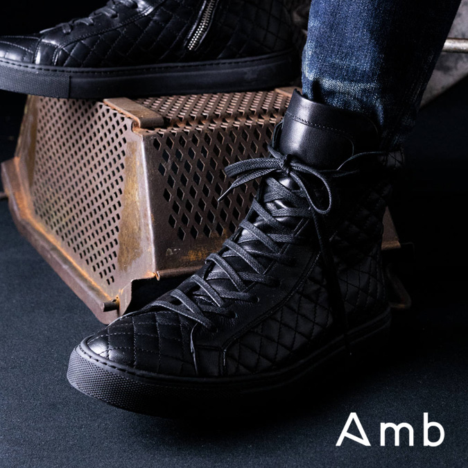 Amb エーエムビー 1000ZIP KIPS QUILTING ALL BLACK メンズ ハイカット スニーカー サイドジップ キルティング キップス オールレザー オールブラック 黒スニ 別注 限定 39-44 24.0-29.5