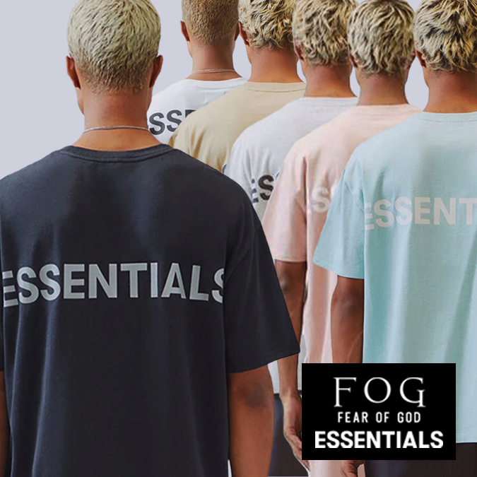 FOG ESSENTIALS エフオージー エッセンシャルズ フォグ BOXY T-SHIRT メンズ レディース Tシャツ クルーネック 半袖 ビッグT リフレクター ロゴ バックプリント Fear of God フィアオブゴッド Pacsun パクサン アメリカ カリフォルニア S-XL