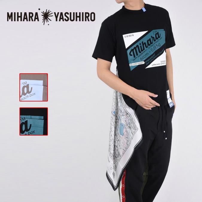 Maison MIHARA YASUHIRO メゾン ミハラヤスヒロ scarf T-shirt メンズ Tシャツ 半袖 パロディ ロゴ スカーフ A04TS691