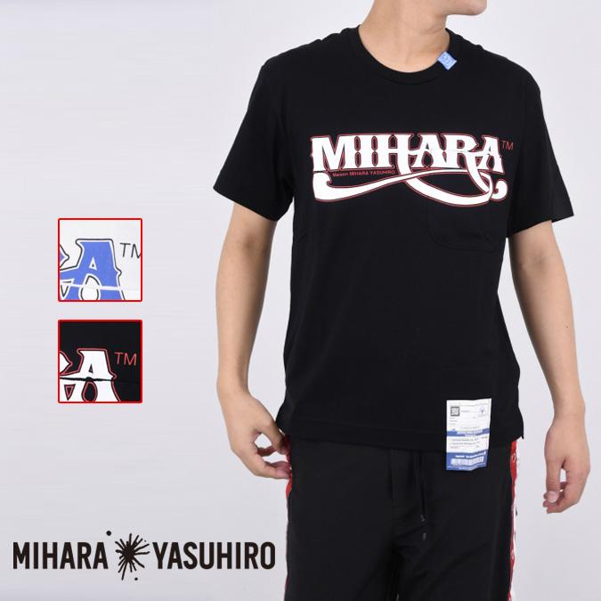 Maison MIHARA YASUHIRO メゾン ミハラヤスヒロ MIHARA printed T-sh メンズ Tシャツ 半袖 ポケット パロディ ロゴ A04TS701