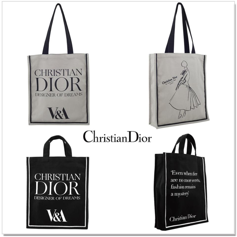 Christian Dior トート 即納 クリスチャンディオール V&A美術館 トートバック キャンバス エコバッグ マザーズバッグ 大き目 シンプル レディース 美術館 トート 限定トート