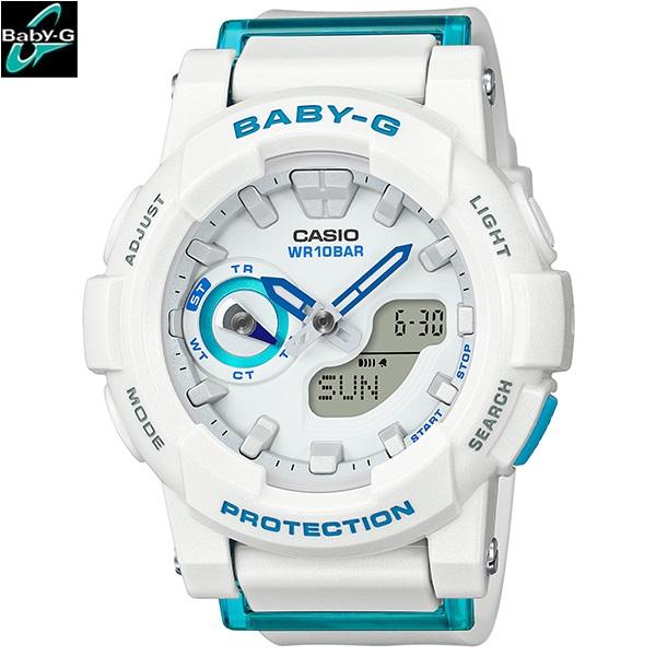 CASIO BABY-G 送料無料 白 ランニングウォッチ レディース ベイビージー 国内正規品 アナログ ベビージー アスレジャー ホワイト 腕時計 ビビッドカラー カシオ BGA-185FS-7AJF