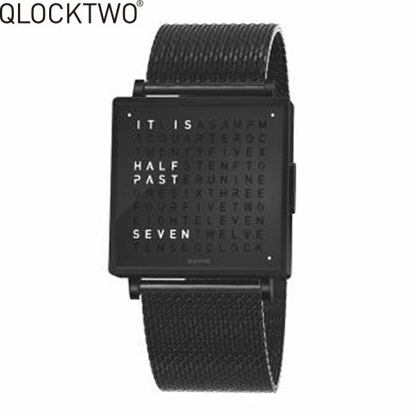 【先着1,200円クーポン有】【無金利ローン可】クロックツー [QLOCKTWO] ファインスチール [FINE STEEL] QW35EN6BLBMBLN 正方形 文字表示 メンズ レディース 腕時計 時計 [誕生日 プレゼント 贈り物 ギフト]