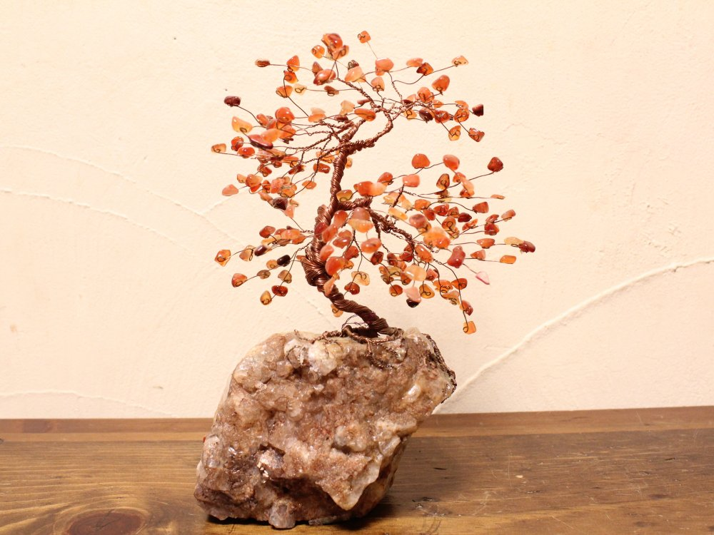 Lori's ジェムストーンツリー #2 Carnelian Stone on Fluorite