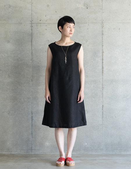 【在庫処分】fog linen work スザンナ ワンピース ブラックBLACK【フォグリネンワーク】【一部地域送料無料】