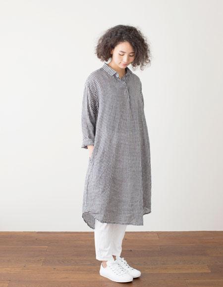 fog linen work ルチア ロングシャツ ブラックホワイトチェックBLACK WHITE CHECK【フォグリネンワーク】【一部地域送料無料】