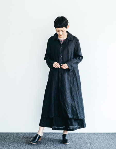 フォグリネンワーク (fog linen work) デルフィーナ コート ブラックBLACK