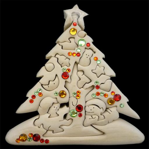 【送料無料】 お買い得商品 ドルフィ イタリア製 木製パズル 「スワロフスキー装飾付きクリスマスツリー」 | 無垢材 3Dパズル 着色料未使用 ラッピング無料 ハンドメイド 手作り プレゼント ギフト 出産祝い 誕生日プレゼント 玩具 お子様 知育玩具 クリスマスプレゼント