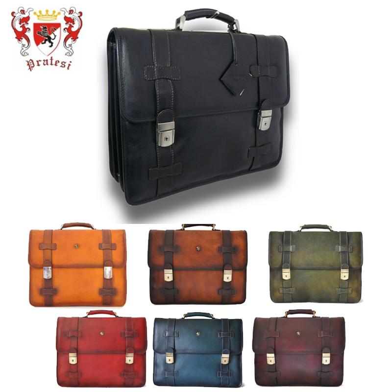 送料無料 イタリア製 プラテージ 本革 バッグ 書類鞄 ブリーフケース 全6色 プラテシ Pratesi イタリアンレザー メンズバッグ
