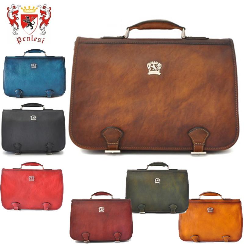 送料無料 イタリア製 プラテージ 本革 バッグ 書類鞄 ブリーフケース 全7色 プラテシ Pratesi イタリアンレザー メンズバッグ