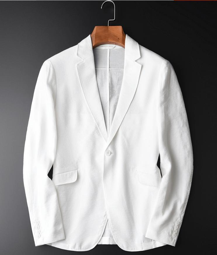 上質  メンズカジュアル テーラードジャケット ジャケット スーツ生地 アウター きれいめ着こなし リネン 無地