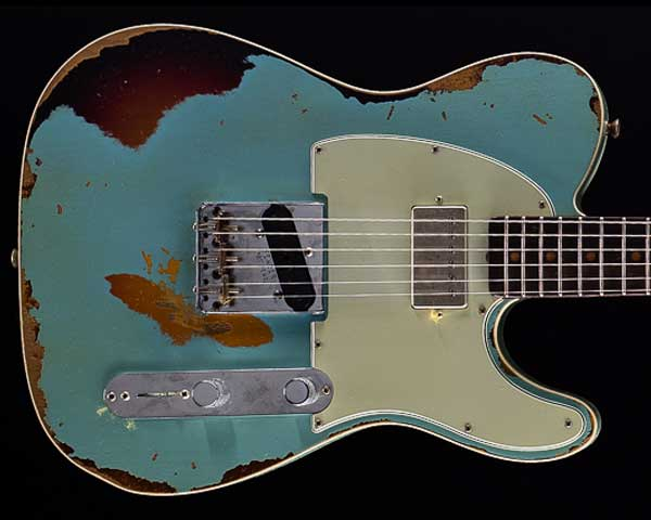 Fender Custom Shop 2018 Limited Reverse Telecaster Custom HS Heavy Relic Aged Daphne Blue over 3-Color Sunburst