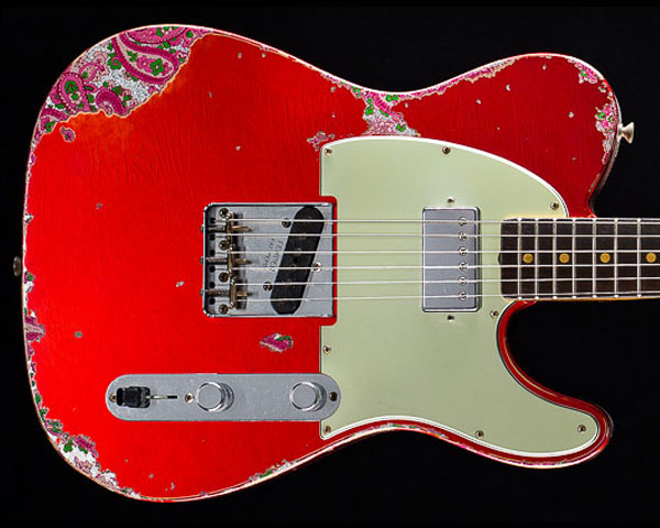 Fender Custom Shop Limited Edition '60s H/S Telecaster Heavy Relic Candy Apple Red Over Pink Paisley