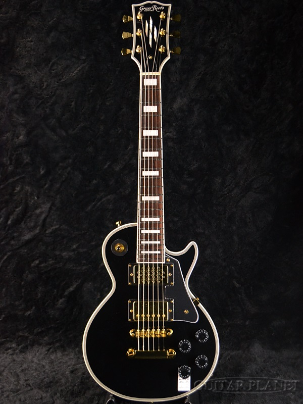 GrassRoots Mini Series G-LPC-MINI Black 新品[グラスルーツ][Custom,カスタム][ブラック,黒][ミニギター][スピーカー内蔵][Les Paul,レスポールタイプ][Electric Guitar,エレキギター]