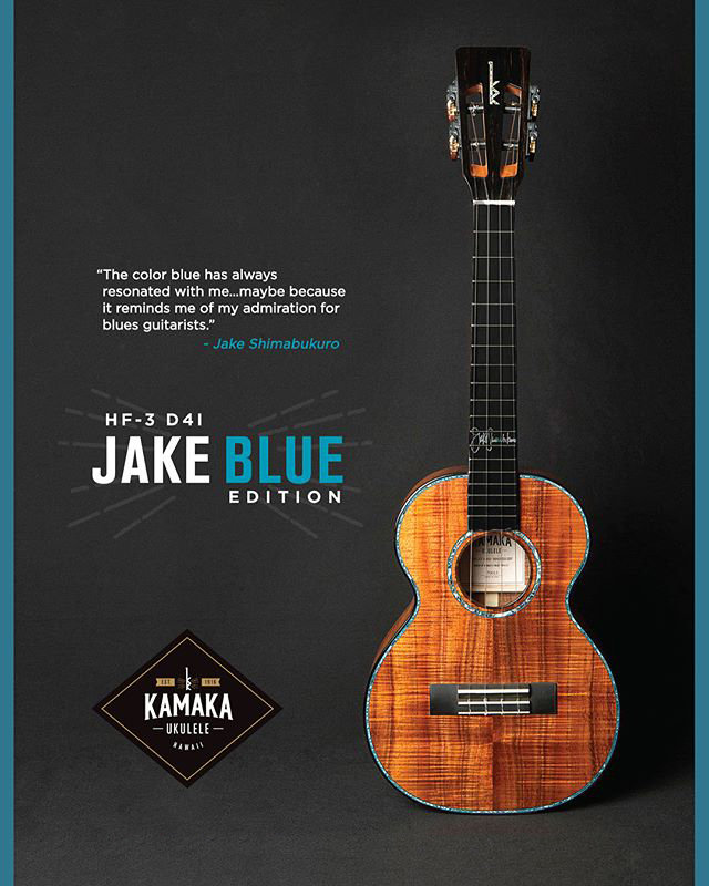 Kamaka HF-3 D4I JAKE BLUE EDITION 新品 テナー[カマカ][HF3][ジェイクシマブクロ][ジェイクブルー][Hawaiian Koa,ハワイアンコア][Tenor Ukulele,ウクレレ]