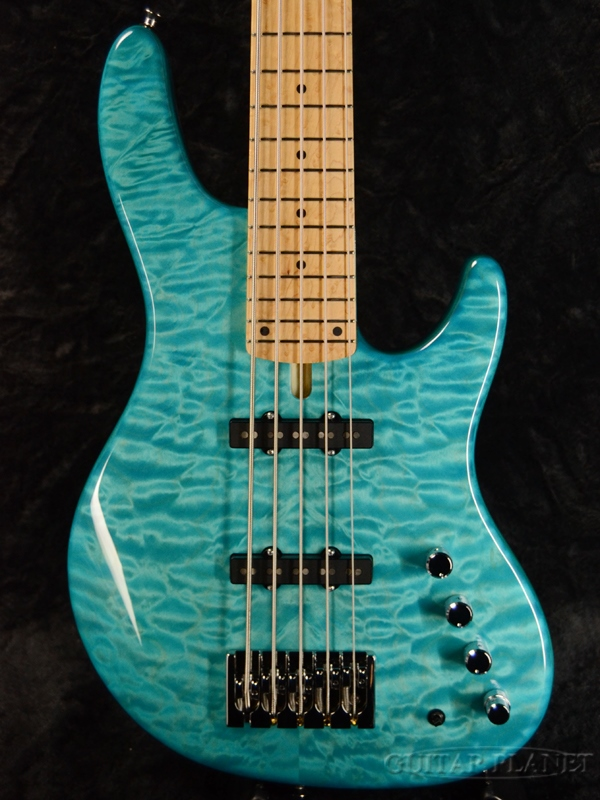 Mike Lull M5 - Trans Ocean Blue Green - AAAAA Quilt Maple/Ash 新品[マイクルル][オーシャンブルー,グリーン,青,緑][5弦][Jazz Bass,ジャズベースタイプ][Electric Bass,エレキベース]