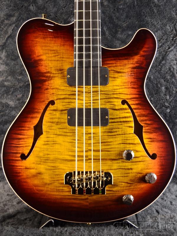 【当店カスタムオーダー品】Nik Huber Rietbergen Bass w/Flame Maple Neck,Gold Hardware,Wood Knob -Tigereye Burst- 新品[ニックフーバー][ホロウ/セミアコ][タイガーアイバースト][Electric Bass,エレキベース]