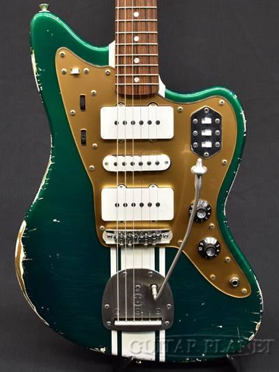 【当店カスタムオーダー品】Shelton Galaxy Flite III -Candy Apple Green with Olympic White Stripe- 新品[シェルトン][Jazzmaster,ジャズマスタータイプ][キャンディアップルグリーン,緑][Electric Guitar,エレキギター]