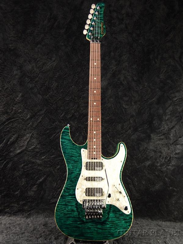 Schecter EX-V-22 CTM FRT 4A Grade -Black Turquoise- 新品[シェクター][Stratocaster,ストラトキャスタータイプ][ブラックターコイズ,Green,グリーン,緑][Electric Guitar,エレキギター]