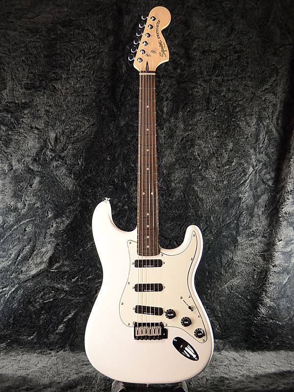 Squier Deluxe Hot Rails Stratocaster OWT 新品 オリンピックホワイト[スクワイヤー][デラックス,DX][Olympic White,白][ストラトキャスター][エレキギター,Electric Guitar]