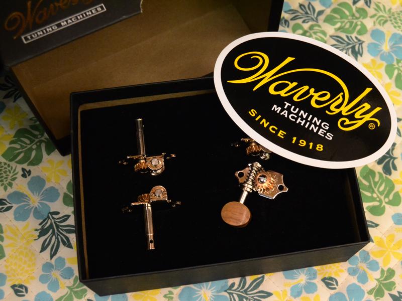 Waverly Ukulele Pegs Koa Button 4080 【4個セット】 新品 ウクレレペグ[ウェーバリー][コアボタン][ギアペグ,サイドギア]