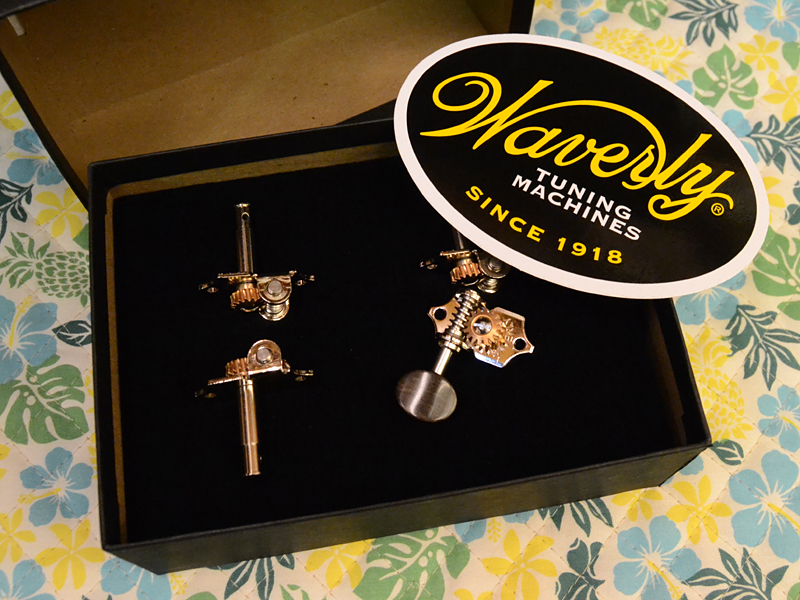 Waverly Ukulele Pegs Ebony Button 4081 【4個セット】 新品 ウクレレペグ[ウェーバリー][エボニーボタン][ギアペグ,サイドギア]
