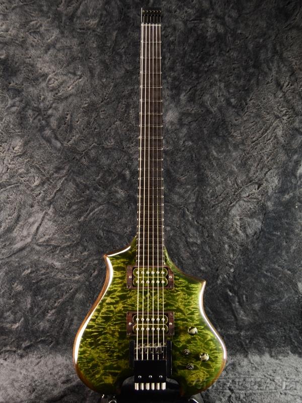 【御委託中古品】Canton Custom Instruments Allan Holdsworth Model【希少モデル】【ホロー構造】【3.11kg】2000年代製[カントンカスタムインストゥルメント][Green,グリーン,緑][Headless,ヘッドレス][Electric Guitar,エレキギター]【used_エレキギター】
