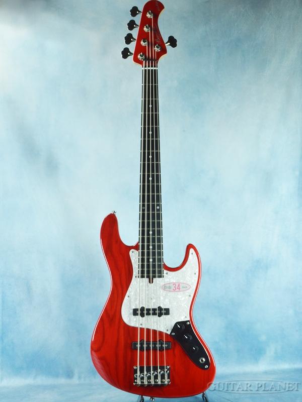 Bacchus WL-534S ASH -See Through Red- 新品[バッカス][レッド,赤][5弦][Jazz Bass,ジャズベース]