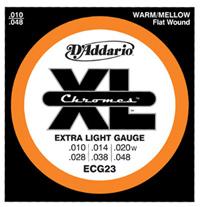 【10セット】D'Addario 10-48 ECG23 Chromes Extra Light[ダダリオ][Chromes Flat Wound,クロームフラットワウンド][エクストラライト][エレキギター弦,string]