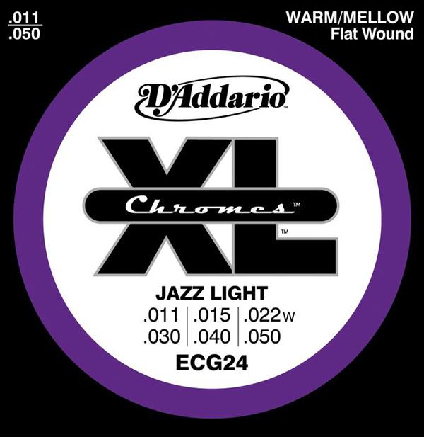 【10セット】D'Addario 11-50 ECG24 Chromes Jazz Light[ダダリオ][Chromes Flat Wound,クロームフラットワウンド][ジャズライト][エレキギター弦,string]